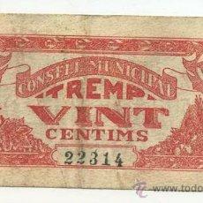 Billetes locales: BILLETE LOCAL TREMP 020 PESETAS - 1937. Lote 28870747