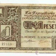 Billetes locales: BILLETE LOCAL GRAUS 1 PESETAS - 1937. Lote 28870838
