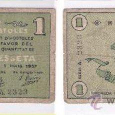 Billetes locales: L182-BILLETE LOCAL. HOSTOLES. PESETA. SERIE A. 1937. ESCASO. RC+. Lote 28891806