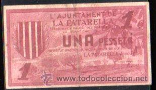 BILLETE DE UNA PESETA DEL AYUNTAMIENTO DE LA FATARELLA (Numismática - Notafilia - Billetes Locales)