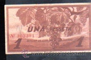 Billetes locales: BILLETE DE UNA PESETA DEL AYUNTAMIENTO DE LA FATARELLA - Foto 2 - 29570426