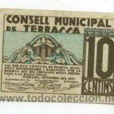 Billetes locales: BILLETE LOCAL DE TERRASSA 010 PESETA - 1937. Lote 29915275