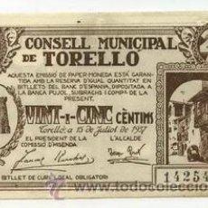 Billetes locales: BILLETE LOCAL DE TORRELLO 025 PESETA - 1937. Lote 29917319