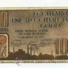 Billetes locales: BILLETE LOCAL COOPERATIVA IGUALADA 10 PESETA - 1937. Lote 29917400