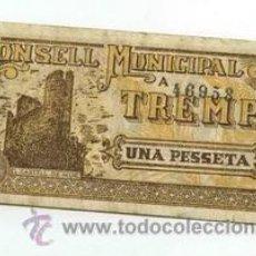 Billetes locales: BILLETE LOCAL DE TREMP 1 PESETAS - 1937. Lote 29918425