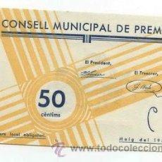 Billetes locales: BILLETE LOCAL DE PREMIA 050 PESETAS - 1937 ( PREMIÀ DE DALT ). Lote 29918658