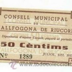 Billetes locales: BILLETE LOCAL DE VALLFOGONA 050 PESETAS - 1937. Lote 29960382