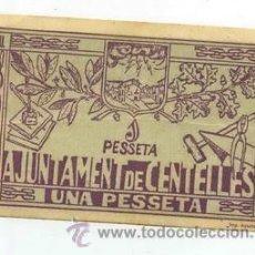 Billetes locales: BILLETE LOCAL DE CENTELLES 1 PESETAS - 1937. Lote 29960482