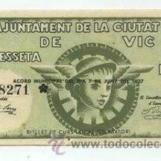 Billetes locales: BILLETE LOCAL DE VIC 1 PESETAS - 1937. Lote 30233541
