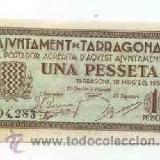 Billetes locales: BILLETE LOCAL DE TARRAGONA 1 PESETAS - 1937. Lote 30233576