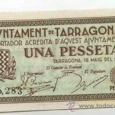 Billetes locales: BILLETE LOCAL DE TARRAGONA 1 PESETAS - 1937. Lote 30248350