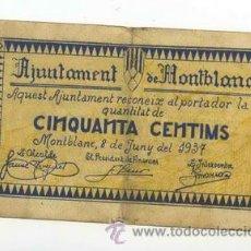 Billetes locales: .BILLETE LOCAL DE MONTBLANC 050 PESETAS - 1937. Lote 30311517