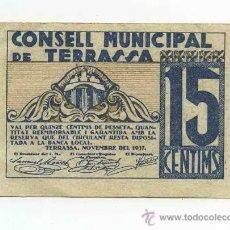 Billetes locales: BILLETE LOCAL DE TERRASSA 0,15 PESETAS. Lote 30562652