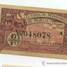 Billetes locales: BILLETE LOCAL DE MURCIA 0,10 PESETAS. Lote 30562655