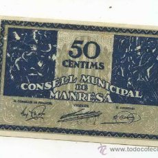 Billetes locales: BILLETE LOCAL DE MANRESA 0,50 PESETAS. Lote 30562678
