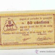 Billetes locales: BILLETE LOCAL DE PINEDES DE LLOBREGAT (SANTA COLOMA DE CERVELLÓ) 0,50 PESETAS. Lote 30706672