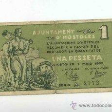 Billetes locales: BILLETE LOCAL DE HOSTOLES 1 PESETA. Lote 30726620