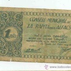 Billetes locales: BILLETE LOCAL DE RAPITA DELS ALFACS 1 PESETA. Lote 30739570