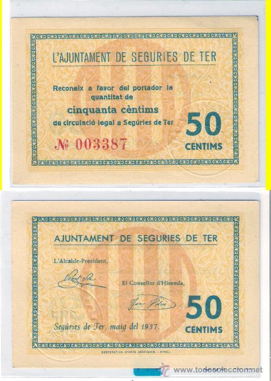 L334-BILLETE LOCAL. SEGURIES DE TER. 50 CÉNTIMOS. 1937. RARO. SC. (Numismática - Notafilia - Billetes Locales)