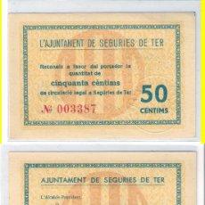 Billetes locales: L334-BILLETE LOCAL. SEGURIES DE TER. 50 CÉNTIMOS. 1937. RARO. SC.. Lote 30972525