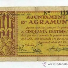Billetes locales: BILLETE LOCAL DE AGRAMUNT 50 CENTIMOS.. Lote 30973682