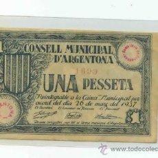 Billetes locales: ARGENTONA 1 PESETA. Lote 31008589