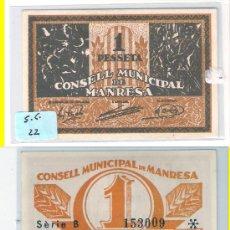 Billetes locales: L180-BILLETE LOCAL. MANRESA. PESETA. SERIE B. SC.. Lote 31024990
