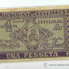Billetes locales: BILLETE LOCAL DE CENTELLES 1 PESETA . Lote 31026512