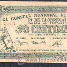 Billetes locales: BILLETE DE 50 CENTIMOS DEL CONSELL MUNICIPAL DE PI DE LLOBREGAT. 1937. Lote 31066027