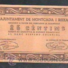 Billetes locales: BILLETE DE 25 CENTIMOS DE L'AJUNTAMENT DE MONTCADA I REIXAC.. Lote 31066051