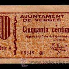 Billetes locales: BILLETE DE 50 CENTIMOS DE AJUNTAMENT DE VERGES. . Lote 31067501