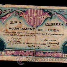 Billetes locales: BILLETE DE 1 PESSETA DEL AJUNTAMENT DE LLEIDA. 1937. Lote 31067530