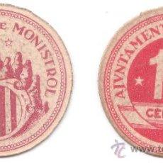 Billetes locales: BILLETE LOCAL....MONISTROL DE MONTSERRAT...15 CTS....SIN CIRCULAR (REF 856). Lote 31110834
