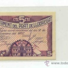 Billetes locales: PRAT DE LLOBREGAT 5 CÉNTIMOS. Lote 31123095