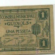 Billetes locales: GUIXOLS 1 PTA. Lote 31259724