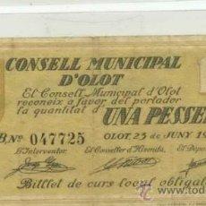Billetes locales: OLOT 1 PTA . Lote 31318977