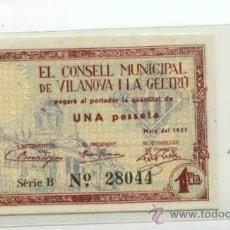 Billetes locales: VILANOVA I GELTRÚ 1 PTA // GUERRA CIVIL ESPAÑOLA. Lote 31356009