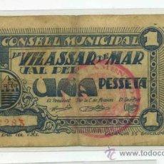 Billetes locales: VILASSAR DE MAR 1 PTA // GUERRA CIVIL ESPAÑOLA. Lote 31356109