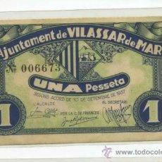 Billetes locales: VILASSAR DE MAR 1 PTA // GUERRA CIVIL ESPAÑOLA. Lote 31356145
