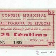 Billetes locales: VALLFOGONA 0,25 PTA. Lote 31454389