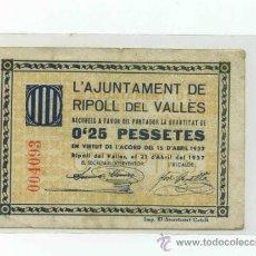 Billetes locales: RIPOLL DEL VALLÈS 0,25 PTA ( SANT LLORENÇ SAVALL ). Lote 31500148