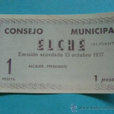 Notas locais: BILLETE LOCAL FACSÍMIL. ALICANTE. CONSEJO MUNICIPAL DE ELCHE. 1 PESETA. OCTUBRE 1937. . Lote 31562157