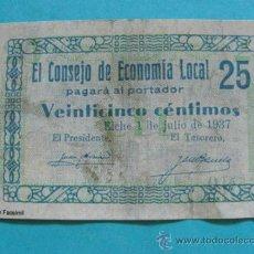 Notas locais: BILLETE LOCAL FACSÍMIL. ALICANTE. CONSEJO ECONOMÍA LOCAL DE ELCHE. 25 CÉNTIMOS 1937. . Lote 31562474