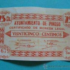Billetes locales: BILLETE LOCAL FACSÍMIL. ALICANTE. AYUNTAMIENTO DE PINOSO. 25 CÉNTIMOS. 1937. . Lote 71125074
