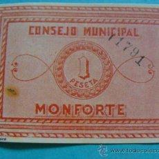 Notas locais: BILLETE LOCAL FACSÍMIL. ALICANTE. CONSEJO MUNICIPAL DE MONFORTE. 1 PESETA. 1937. . Lote 31563149
