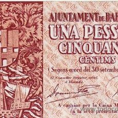Billetes locales: GUERRA CIVIL. BILLETE 1,50 PTA. . AJUNTAMENT BARCELONA. SIN CIRCULAR.. Lote 31760408