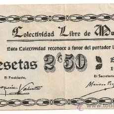 Billetes locales: 2,50 PESETAS DE MUNIESA (TERUEL). Lote 31802082