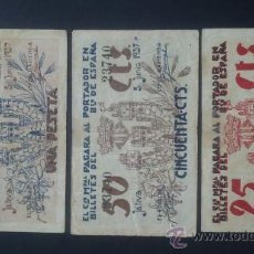 Billetes locales: JÁTIVA (XÁTIVA) LOTE 3 BILLETES 25, 50 CÉNTIMOS Y 1 PESETA. Lote 31880764