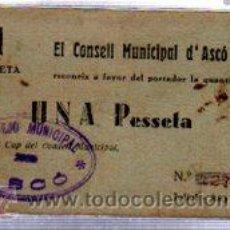 Billetes locales: CONSEJO MUNICIPAL D´ASCO, UNA PESETA. Lote 32025329