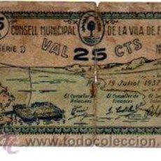 Billetes locales: CONSELL MUNICIPAL DE LA VILA DE FLIX, VAL 25 CTS. Lote 32025434
